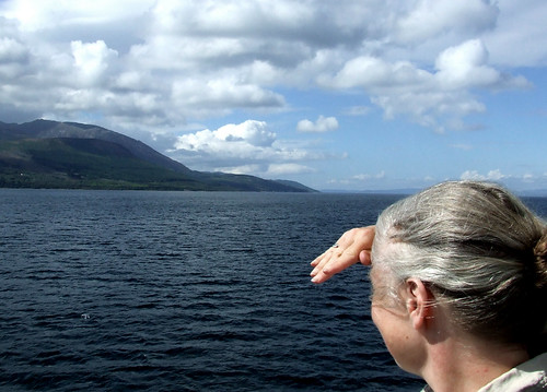 Rachel gazing at Arran