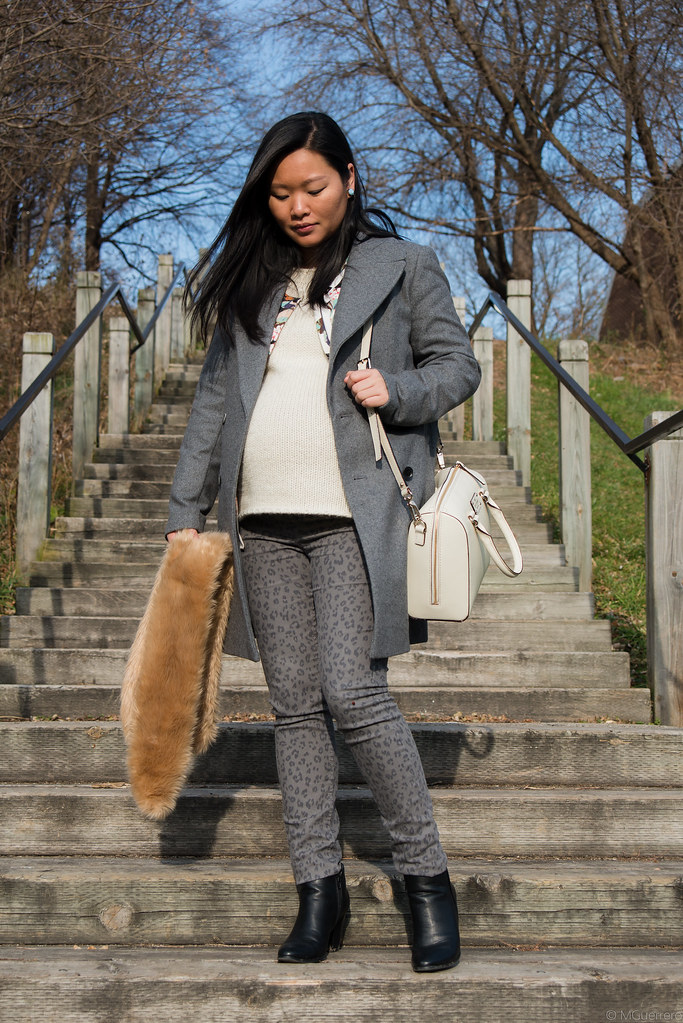 zara gray wool jacket and chunky knit sweater outfit, kate spade crossbody