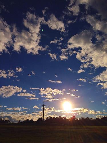 life blue sunset sky sun white love nature beauty grass clouds landscape happy wooden christ cross bright little jesus fluffy christian bible rays infinite romans eternal verse forgiven