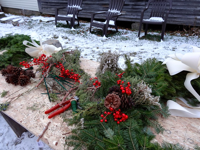 decorating the wreaths