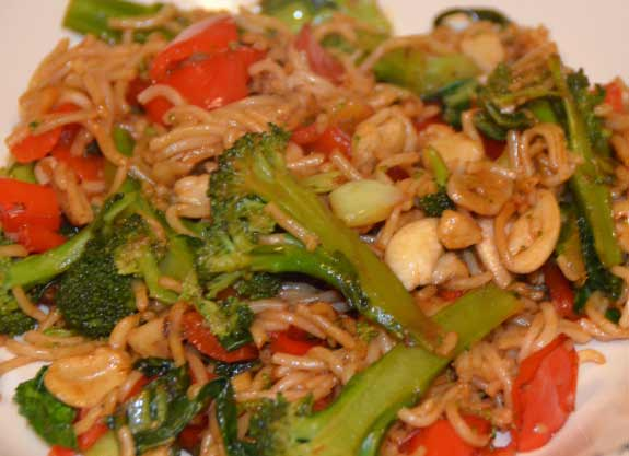 Stir Fry Supper with cashew nuts, pak choi and noodles