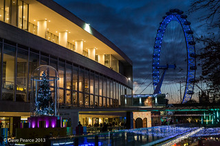 Royal Festival Hall at blue hour.