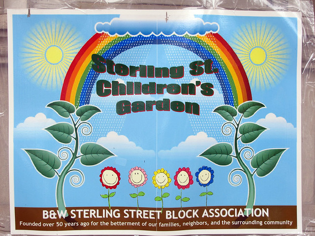 The B&W Sterling Street Block Association (Sterling Street between Bedford and Washington Avenues) dedicates an entire front yard to its children's garden. Photo by GreenBridge staff.