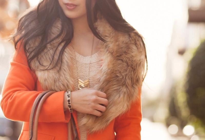 cute & little blog | leopard print cuff, rag & bone skinny jeans kensington, sheinside orange coat, fur collar stole, chevron necklace, beige knit sweater | winter outfit
