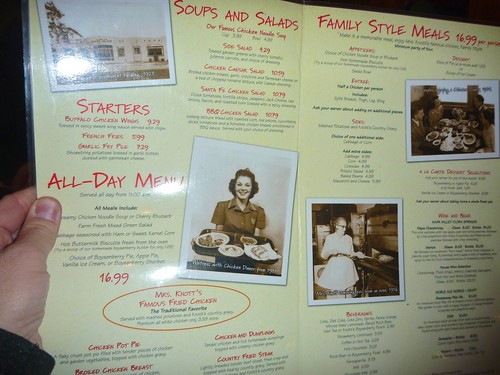 Mrs. Knotts Chicken Dinner Restaurant  Menu - Photo By Keith Valcourt