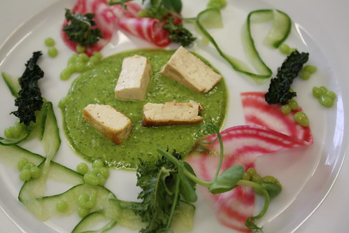 "Tea Smoked Tofu and Pickled Cucumber with Wasabi Pea ""Caviar"" And  Kale Chips"