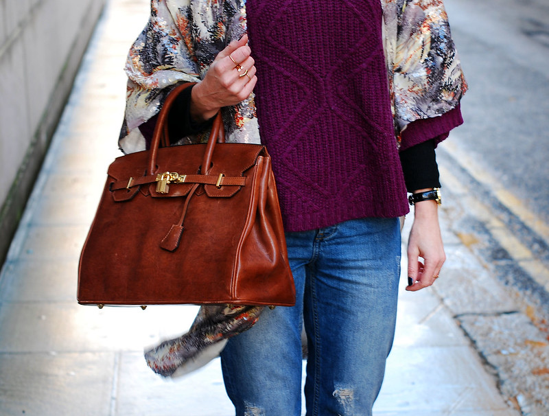 Sequinned kimono, purple cowl neck sweater & Birkin