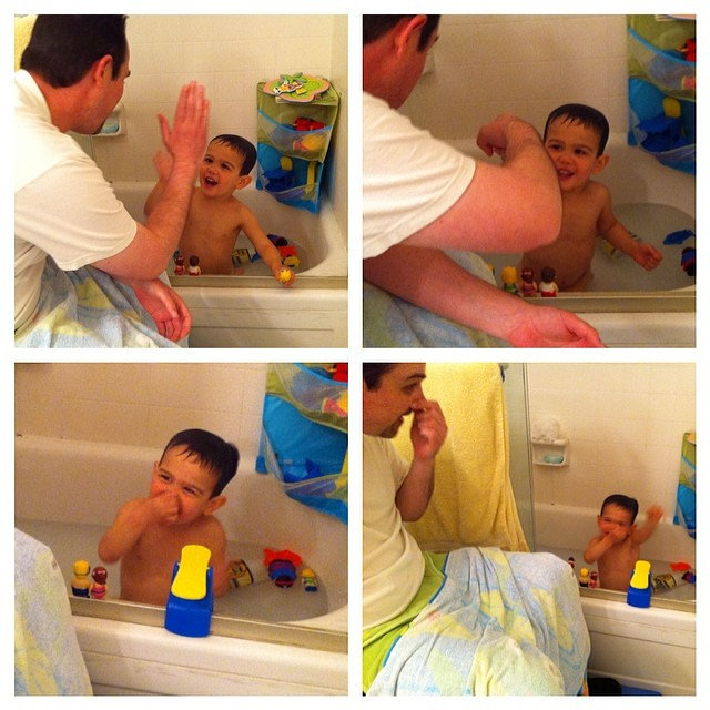 "High fives, fist bumps, and doing ""the swim"". Bath time is always so much fun!! Thanks Dad!"