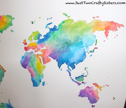 How to watercolor a world map painting