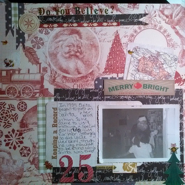 Scrapbook layout using vintage photo of my mother's belief in Santa