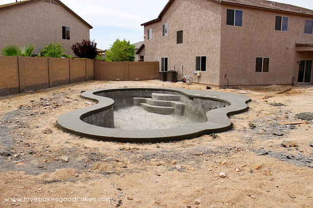 Completed backyard swimming pool.