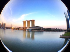 Enjoying a fisheye view of #marianabaysands hotel and some early evening drinks.