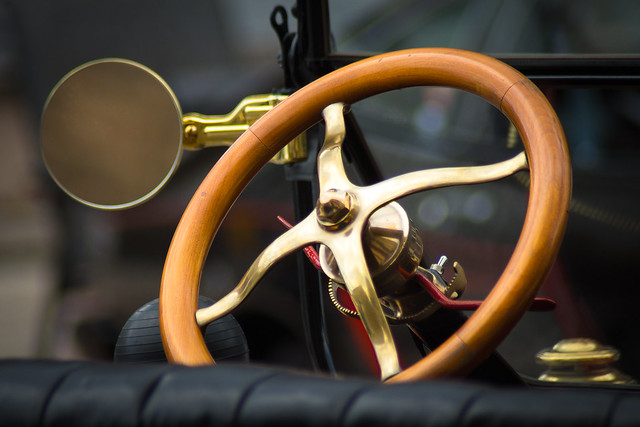 Wheel, Steering Wheel, Mirror, Antique, Car, Auto, Automobile