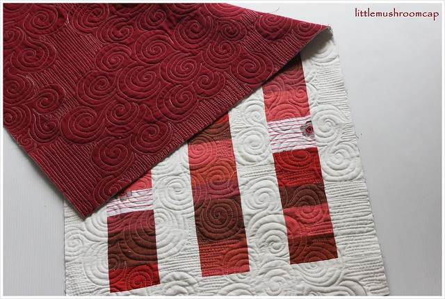 Red modern patchwork table runner