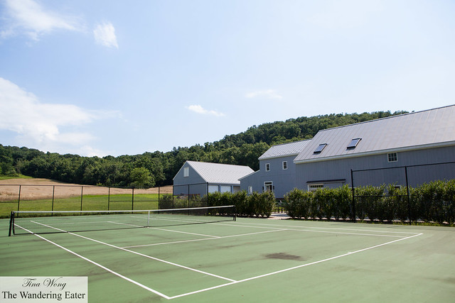 Tennis court at the back of the distillery
