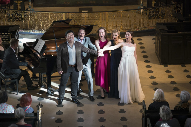 David Junghoon Kim, Gyula Nagy, Emily Edmonds, Jennifer Davis and Vlada Borovko in recital during Meet the Young Artists Week 2016 © Roger Way Photography