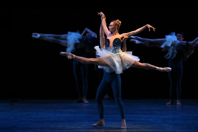 Production photo of Robert Binet's The Blue of Distance. 2015 New York City Ballet. Photograph by Paul Kolnik