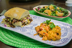 Pulled Pork Sandwich, Herb Fettuccine with Japanes…