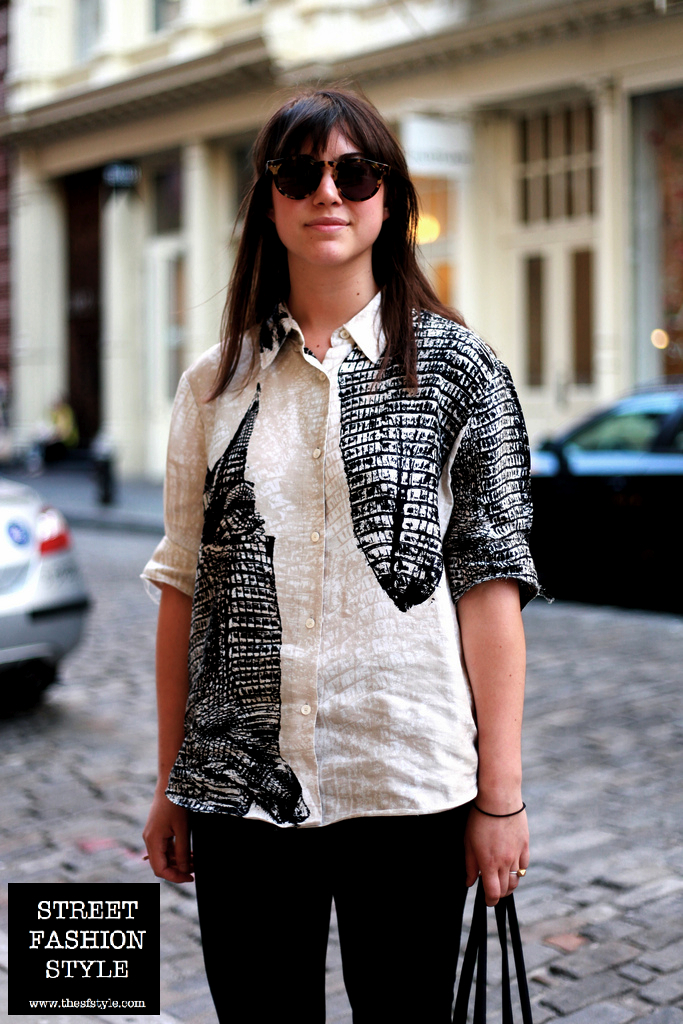 acne, acne blouse, graphic print, new york fashion blog, thesfstyle, sfstyle, street fashion style, tortoiseshell glasses,
