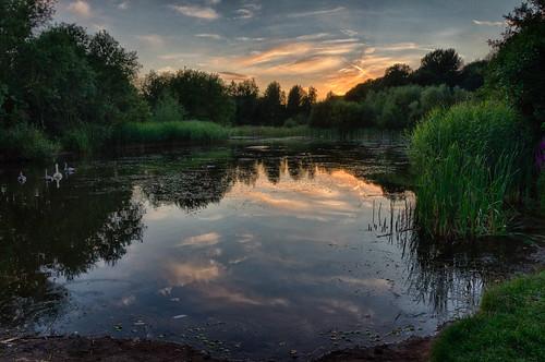 sunset england people lake reflection pool unitedkingdom hdr loughborough charnwood blindphotographers thorpeacre stonebowwashlands