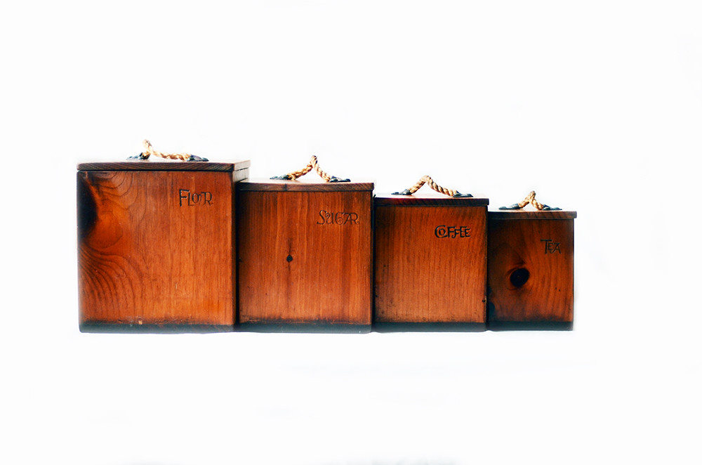 Four Wooden Kitchen Canisters with Rope Handles