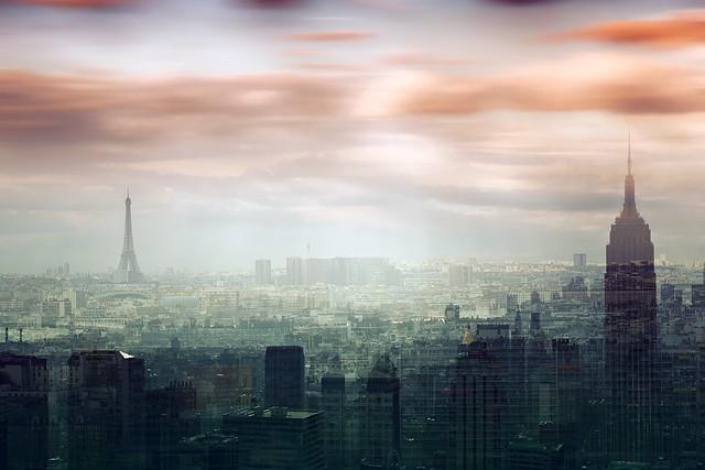Double exposure Paris & NYC - explore 2013