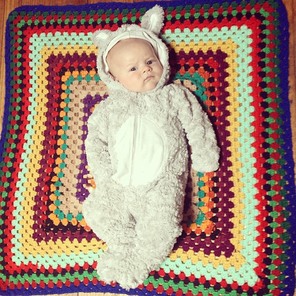 A very serious #babyjagoe in a rabbit suit.