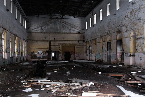 Inside one of the abandoned locomotive sheds