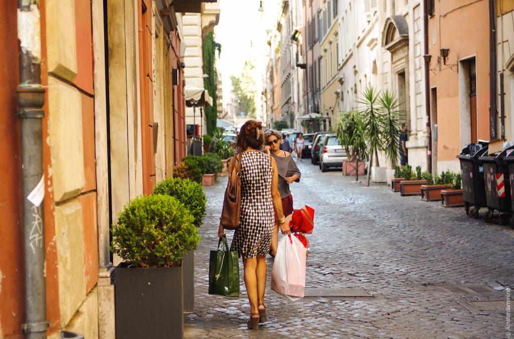 Rome, Woman with Groceries in Monti