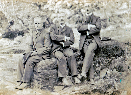 Three figures from church outing circa 1890