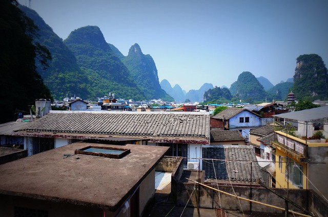Views of the limestone mountains in Yangshuo, China.