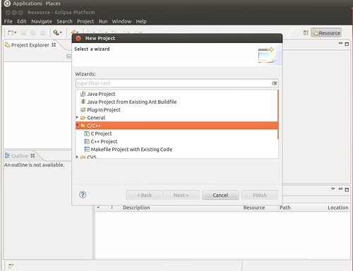 Ubuntu 12.04 Eclipse New C++ Project