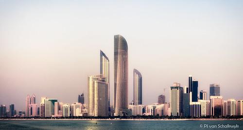 ocean city travel sunset sky beach water skyscraper haze cityscape uae middleeast abudhabi 5d fullframe