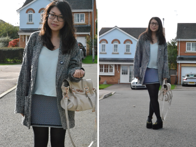 Daisybutter - UK Style and Fashion Blog: what i wore, monochrome, topshop camisoles, how to wear topshop camis for autumn, kitty flatforms, charlotte olympia inspired