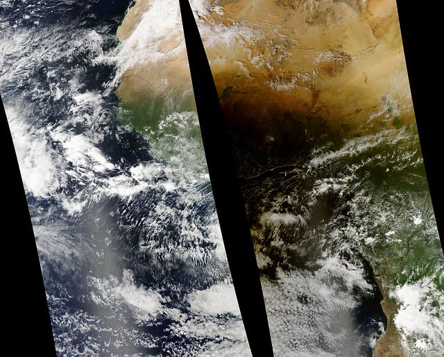 Lunar Umbra (solar eclipse shadow) over western Africa
