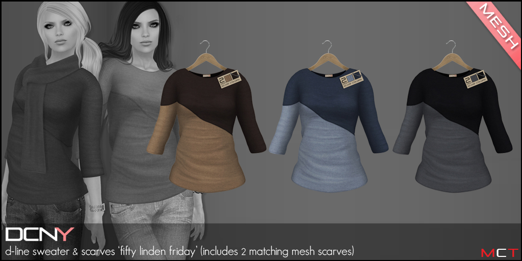 DCNY D-Line Sweater & Scarves for Fifty Linden Friday!