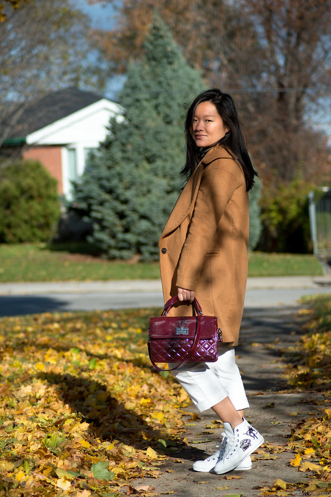 zara camel coat, camel coat with large lapel, burgundy quilted purse, converse rose sneakers, target pants