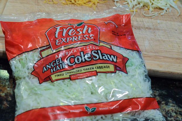 A bag of Fresh Express Angel Hair Cole Slaw.