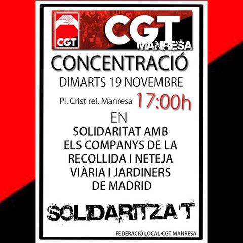 Concentració a Manresa en solidaritat amb els companys de la recollida i neteja viària de Madrid