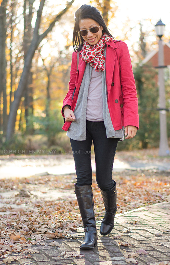 floral scarf, red jacket, black riding boots