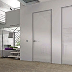 Puertas batiente aluminio y cristal.