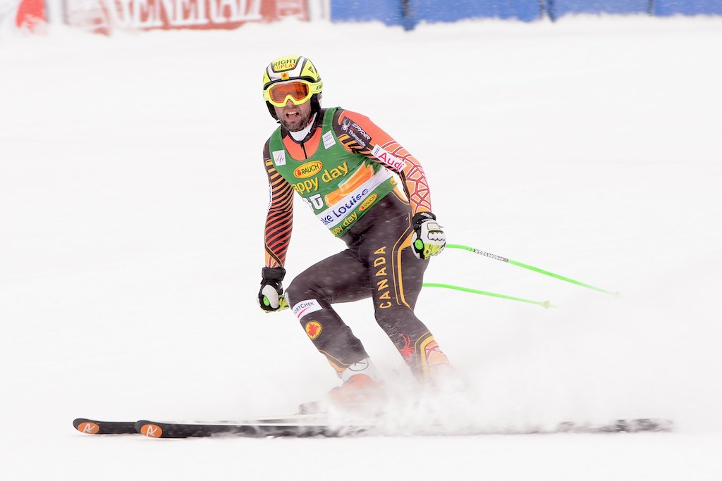 Manny skis to a 12th place finish in the super-G at the FIS-Alpine World Cup in Lake Louise, CAN