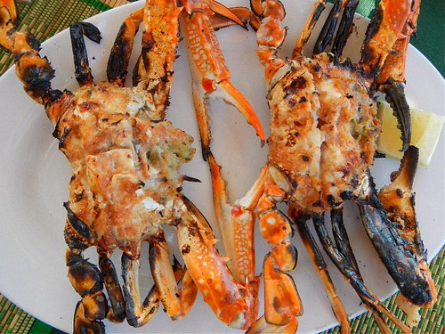 fresh grilled crab at Green Umbrella on Ngapali Beach in Myanmar