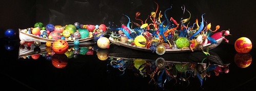 full Pano of Chihuly boats of glass balls