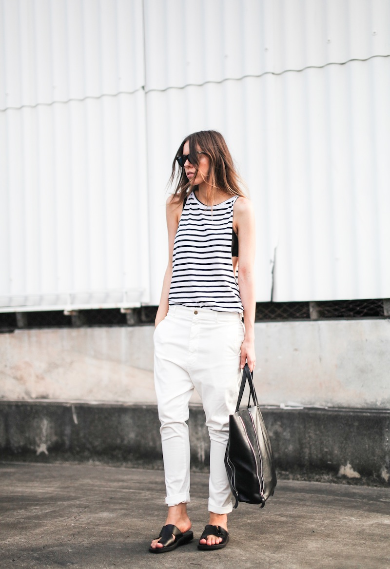 modern legacy fashion style blogger australia Bassike stripe lo slung jeans white mesh bra summer street style tall (4 of 11)
