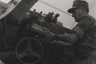 Major General Raymond Davis Inspects a Captured 122mm Artillery Piece, 1969