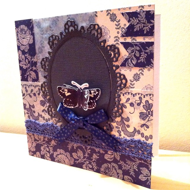 Parisienne blue butterfly card