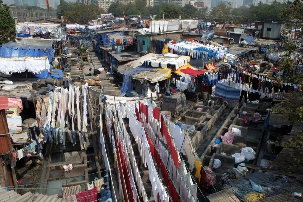 Wide shot of Mahalaxmi Dhobi Ghat
