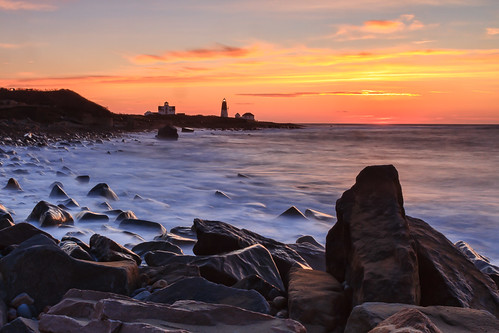 Rocky Sunrise at Pt Judith Lighthouse - Mike Dooley by mike_dooley