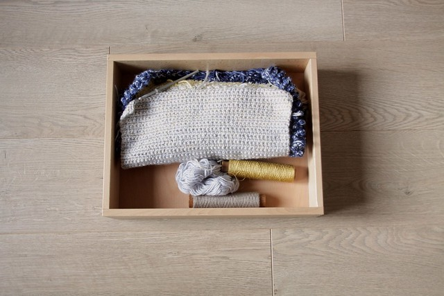 crochet work in a box